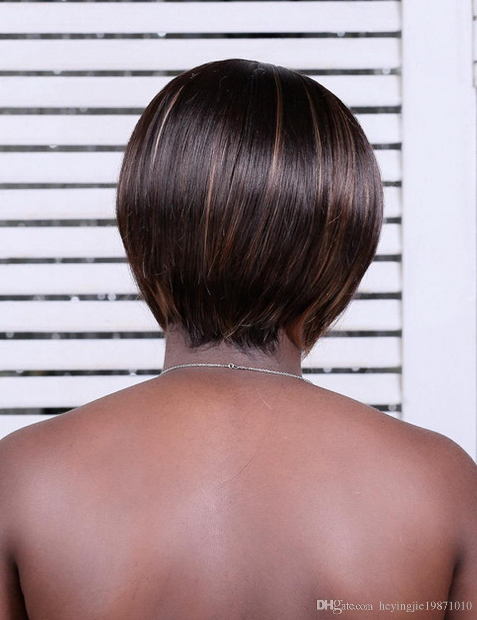 شيوى تشى مى 8 بوصة الاصطناعية يبرز البني قصيرة حلاقة الشعر مع الانفجارات مستقيم الطبيعية بوب الباروكات للنساء السود الشحن مجانا