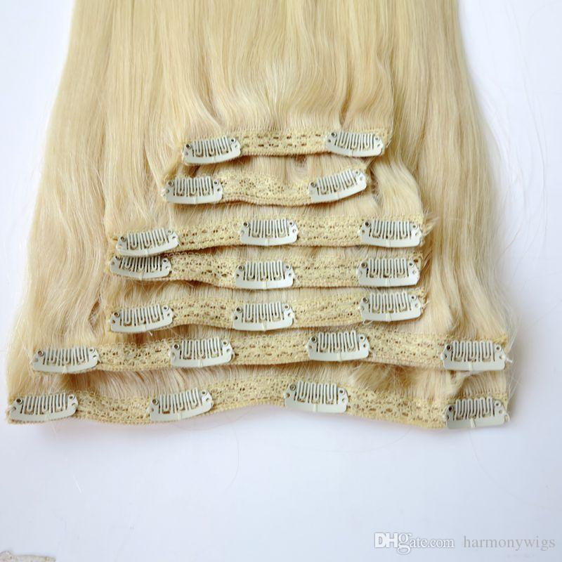 머리카락 확장 클립 Brazilian Human Hair 20 22inch 60 # / 플래티넘 금발 스트레이트 헤어 익스텐션 260g / set