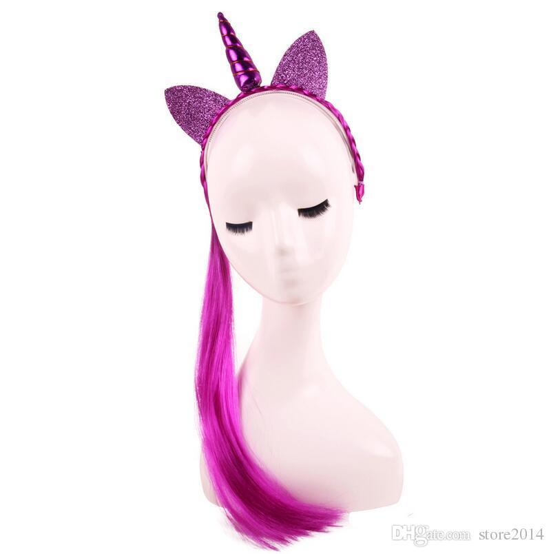 Baby Fashion Wig Braid Unicorn Tiaras For Festival Halloween Lovely Cat Ears Girls Hair Sticks Kids Hair Headband