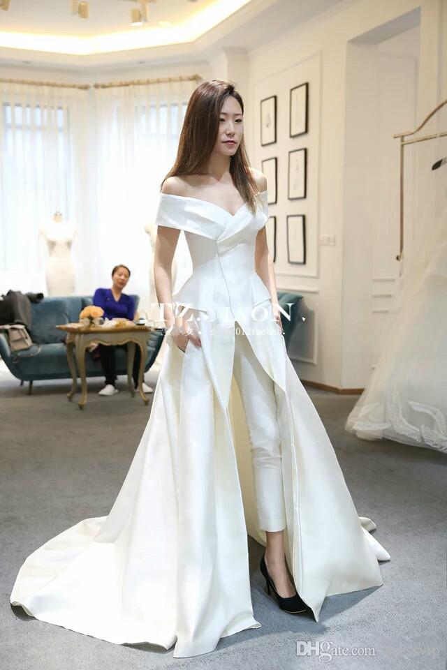 Mulheres Macacão Com Trem Longo Branco Vestidos de Noite Fora Do Ombro Trem de Varredura Elegante Prom Vestido de Festa Zuhair Murad Vestido Vestidos Festa