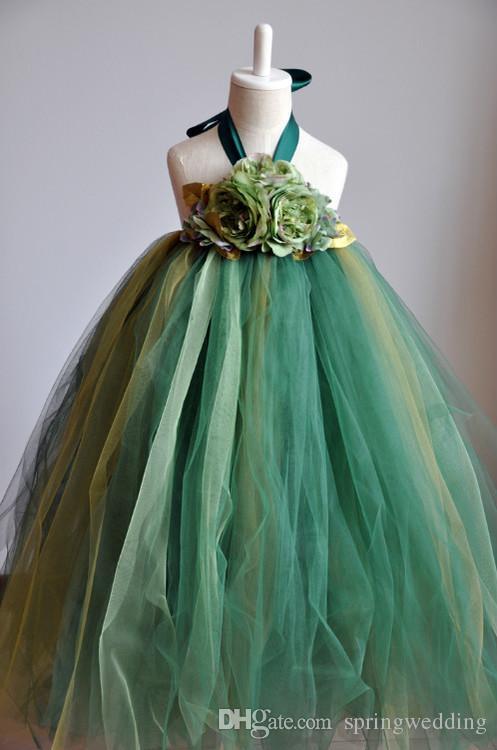 Nueva llegada Vestidos de las muchachas de flor encantadoras verdes Longitud del piso Muchachas largas Vestidos ocasionales Vestidos promocionales del verano de los niños vestidos MC0196