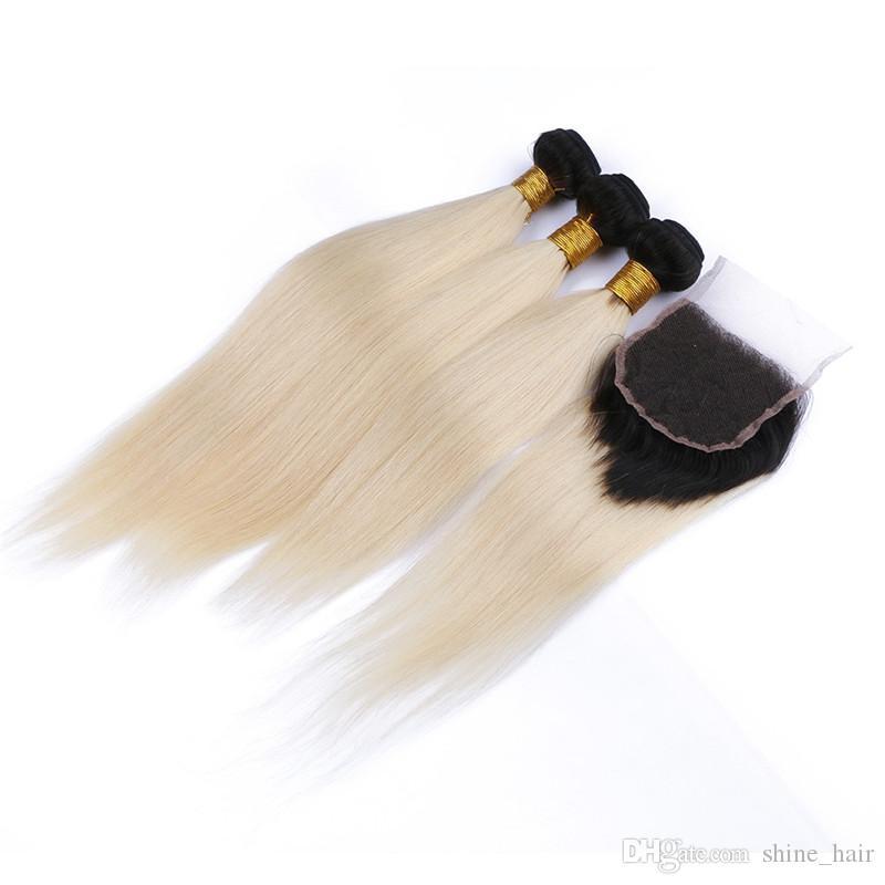 البرازيلي شقراء أومبير شعر الإنسان 3 حزم مع إغلاق # 1b / 613 شقراء اثنين من لهجة أومبير ينسج مع حريري مستقيم 4x4 الدانتيل إغلاق