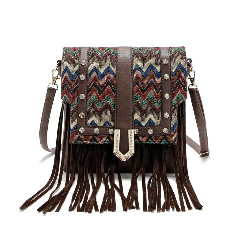 Fashion Women Punk Satchel Tassel Suede Fringe Shoulder Messenger Cross  Body Bag Ladies Small Casual PU Leather Striped Bags Leather Handbag  Branded ... 3ec57c5fe1