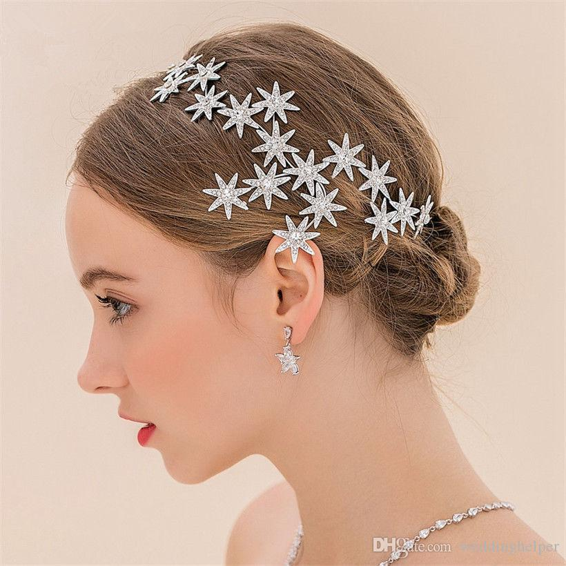 Vintage Wedding Bridal Headband Hair Accessories Rhinestone Crown Star  Tiara Silver Princess Jewelry Headdress Crystal Fashion Fascinators Wedding  Vintage ... 674f5a2ef14