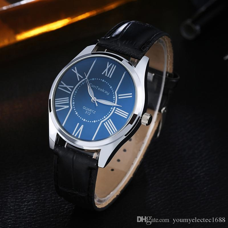 2016 Top Selling Luxury Mans Leather Band Stainless Skeleton Business Wrist Watch Best Quality Quartz Men Watches