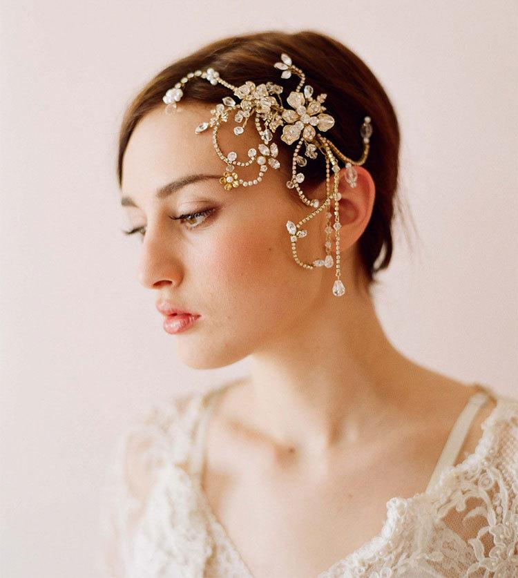 Gold Handmade Bridal Fascinator 2016 Beaded Crystal Charming Flower Wedding Accessories Elegant Vintage Hair Accessory With Comb Dz Wholesale
