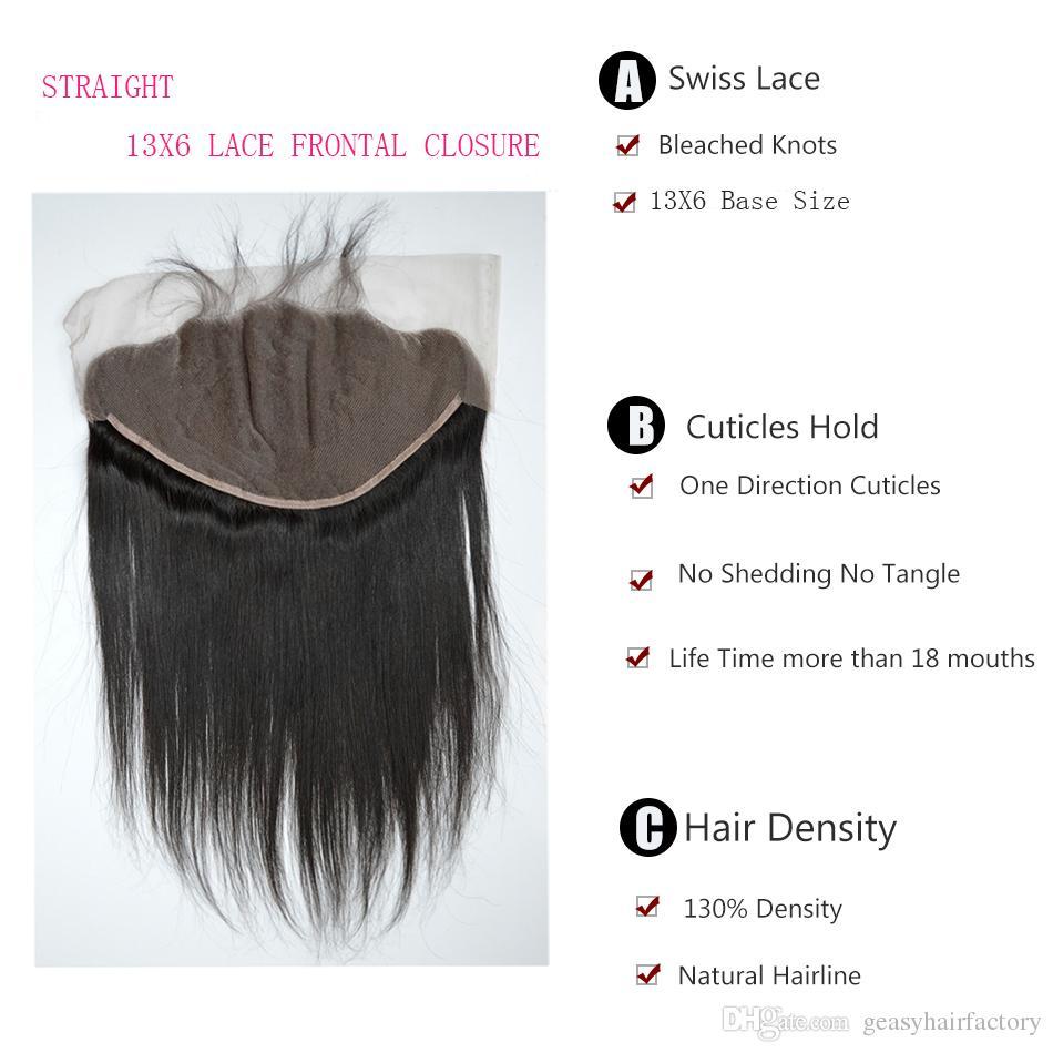 Peruanisches Menschenhaar gerade mit frontaler Spitze Schließung viel unverarbeitete peruanische glattes Haar Ohr zu Ohr Spitze Frontal 13 x 6 LaurieJ Haar