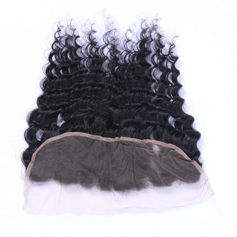 Фондовый перуанский девственные человеческие волосы глубокая волна 13x4 кружева фронтальная закрытие отбеленные узлы свободный средний три части уха до уха полный кружева Frontals