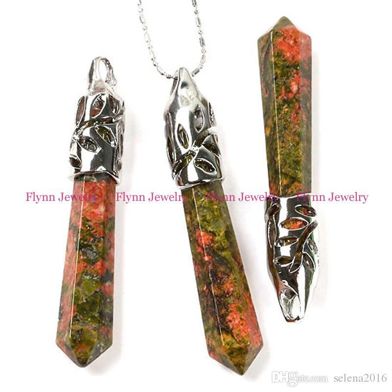 2016 Spring Hot Various Natural Stone Amethyst Rose Quartz Tiger's Eye Opal Onyx Hexagon Prism Pendant Classic Jewelry