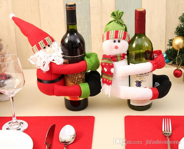 Christmas Decorate Red Wine Beer Bottle Dolls Sets Santa Claus Snow Awesome Decorate Beer Bottles For Christmas