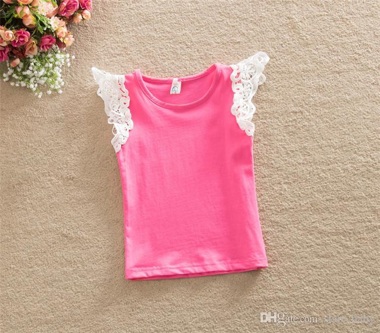 Newborn Baby Girls T-shirt Vest Singlets lace 2016 Summer top Sale Puff Shoulder straps 6 size u pick B11