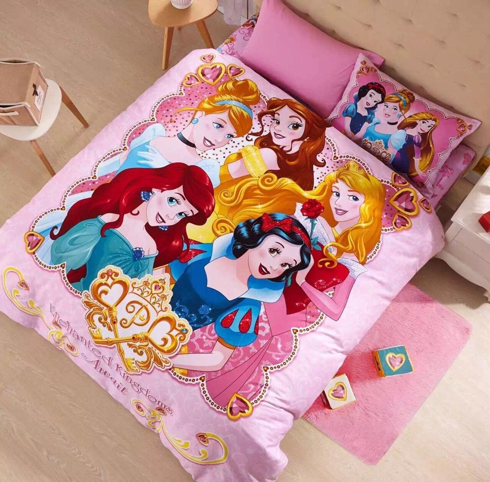 Girl/Kids Bed Set For Girls Rapunzel/Ariel Queen Size Princess Cartoon Bedding  Sets Twin Full Size 100% Cartoon Bed Sheets Blue And White Duvet Cover ...