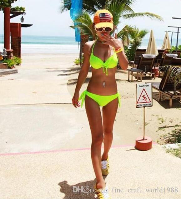 패션 핫 세일 섹시 네온 솔리드 컬러 비키니 세트 스틸 여성 bowknot 브래지어 수영복 밀어 올려 수영복 온천 수영복