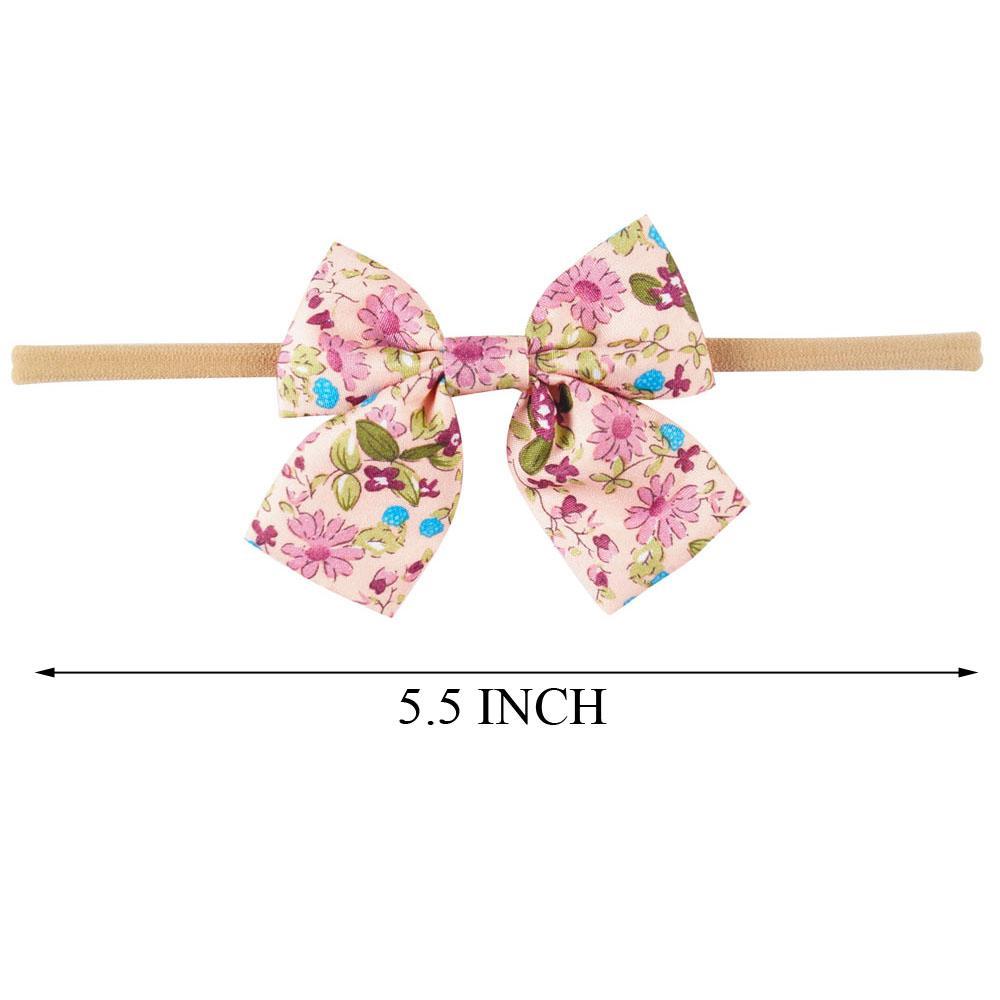 10 Style Handmade Boutique Nylon archetto con fiocco in tessuto neonati Accessori capelli Capelli Fiori Head Band all'ingrosso
