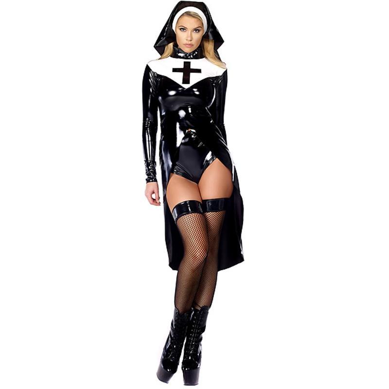 New Stylish Sexy Halloween Cosplay M L XL Fashion Black Women Sexy Nun Costume Vinyl Leather Cosplay Halloween Costume W850640
