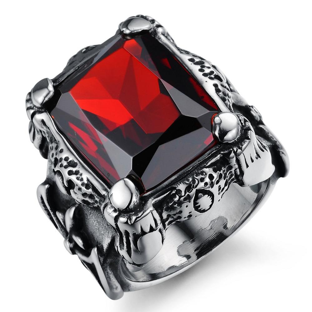 Completely new Punk Real Stainless Steel Ruby Ring Men'S 13kt Big Red Stones  FN14