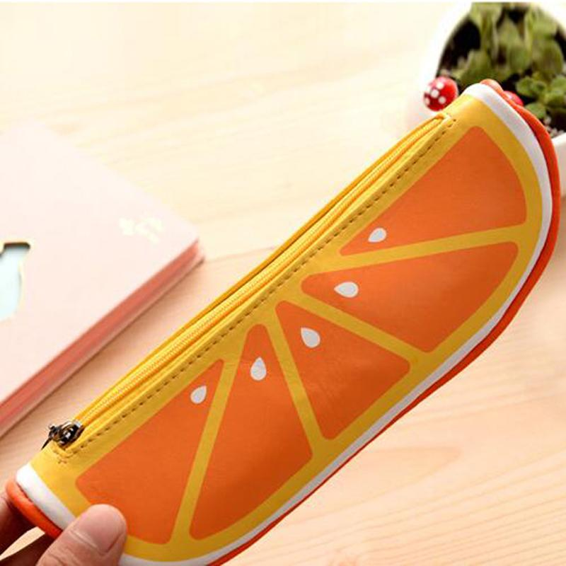 Lovely Fruit Shape Cosmetic Bag Watermelon Orange Pen Bags Cute Stationery Bags Storage Pencil Case Casual Travel Makeup Case