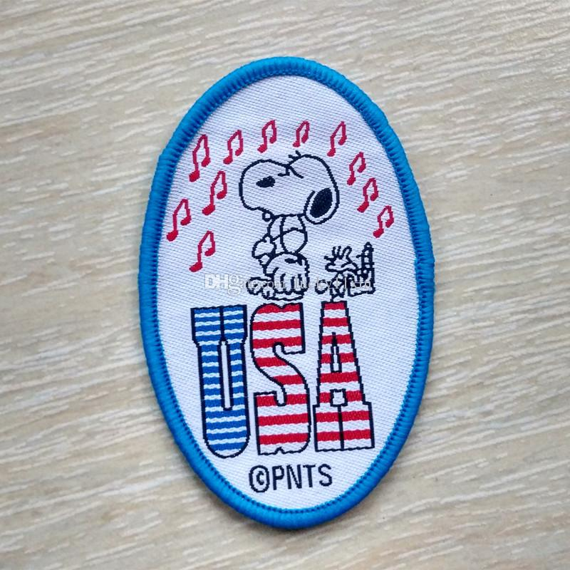 Snoopy USA Music Collection annähen Cartoon oval Patch Shirt Hose Weste Mantel Rock Tasche Kinder Geschenk Baby Dekoration