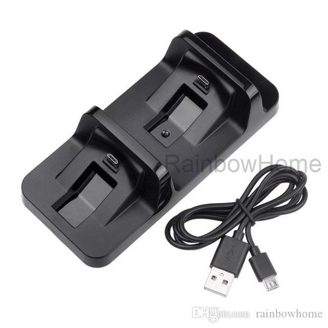 Dual USB-oplader opladen dock station standhouder voor PS4 draadloze controller PlayStation DUALSHOCK 4 JOYSTICK GAMEPAD USB-kabel