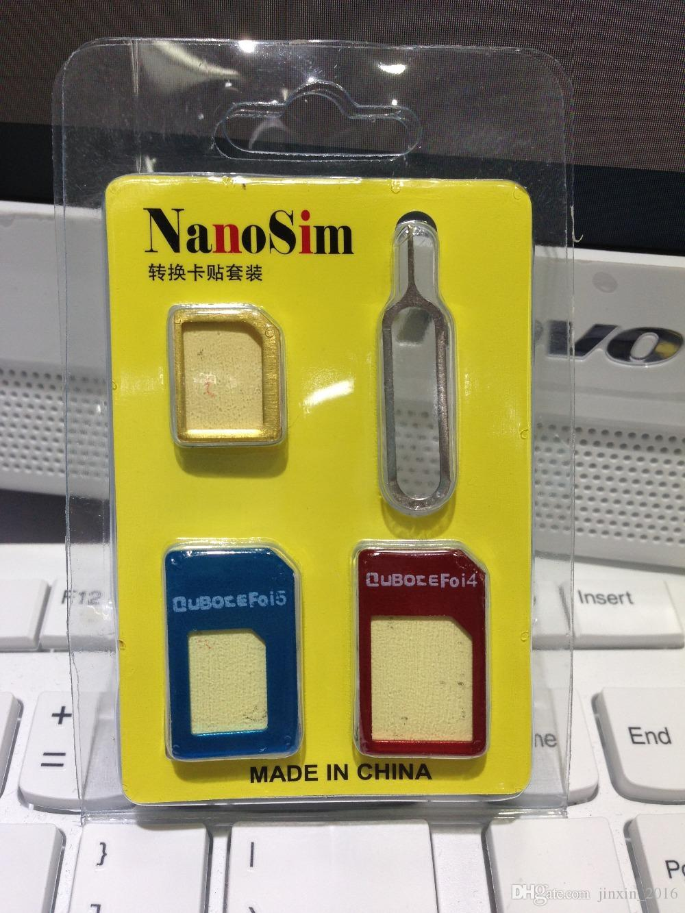 High Quality 4 In 1 Nano Sim Card Adapter Micro Standard Tools For Nossy Iphone 4s 5 With Retail Packages Made China Jual Cutter Noosy