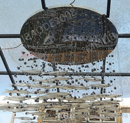 BE33 Moderno LED Vetro Cognac Colore Volare Lampadari di Pesce Sala da pranzo Bar Lampade a Sospensione Lampade a Soffitto di Cristallo Soggiorno Lobby Hotel