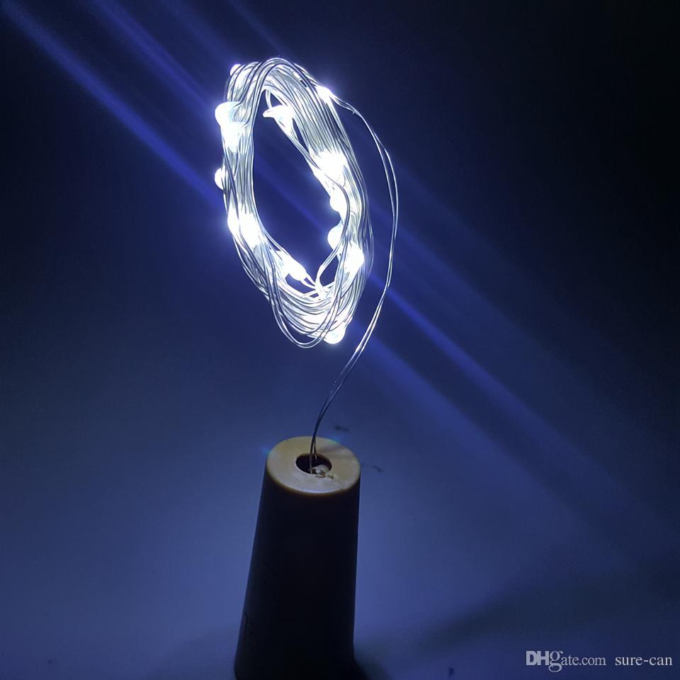 Más barato 2M 20LED lámpara de corcho en forma de tapón de la botella de vidrio vino LED luces de cadena de alambre de cobre para la fiesta de Navidad boda de Halloween