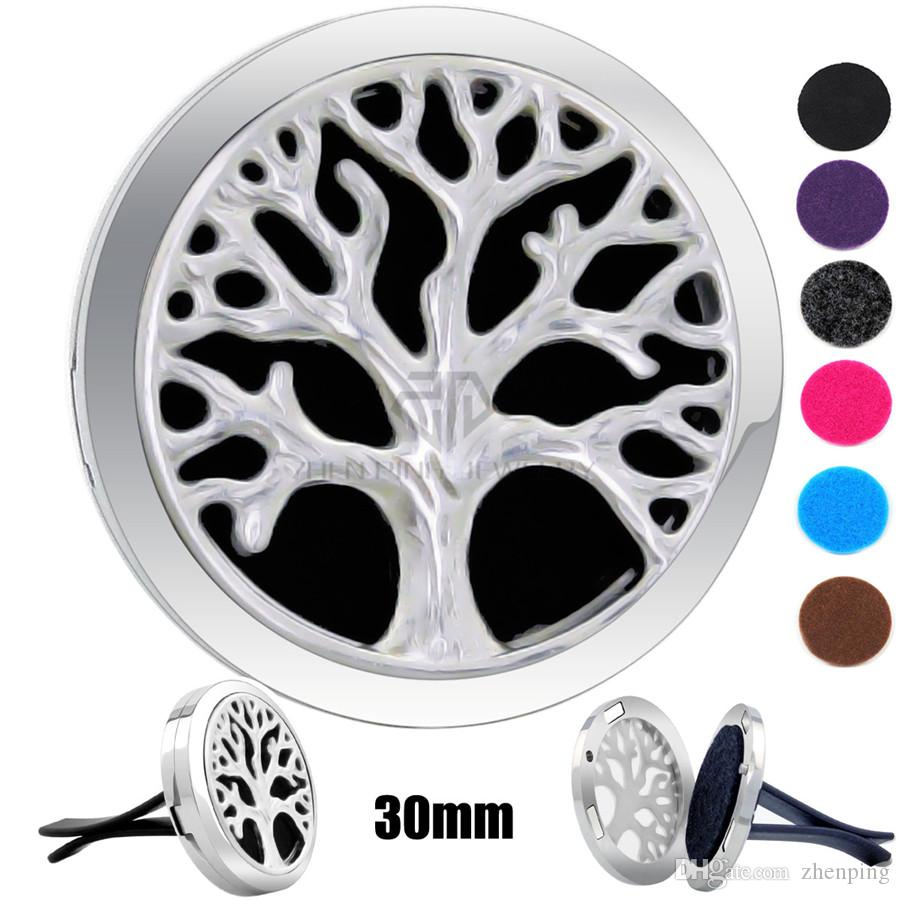 Silver Casting Tree (30mm) Magnetic Car Diffuser Aromatherapy Locket Free Pads Essential Oil 316 Stainless Steel Car Diffuser Lockets