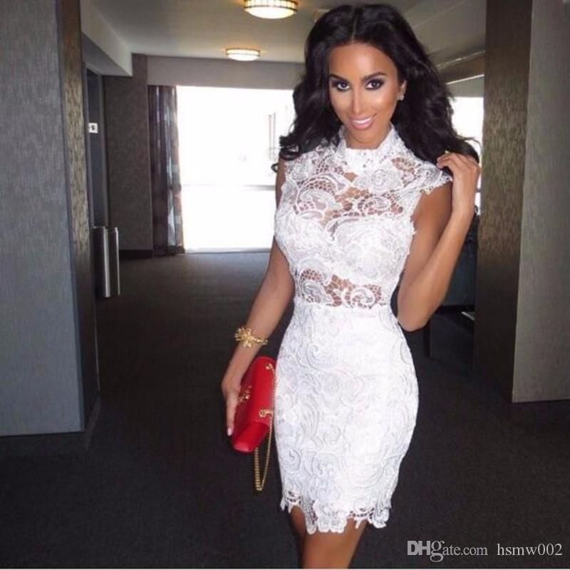 Charming Mini Short Party Dresses White Lace Women Fromal Prom Gown High Neck Sexy See Through Top Cocktail Dresses robe de