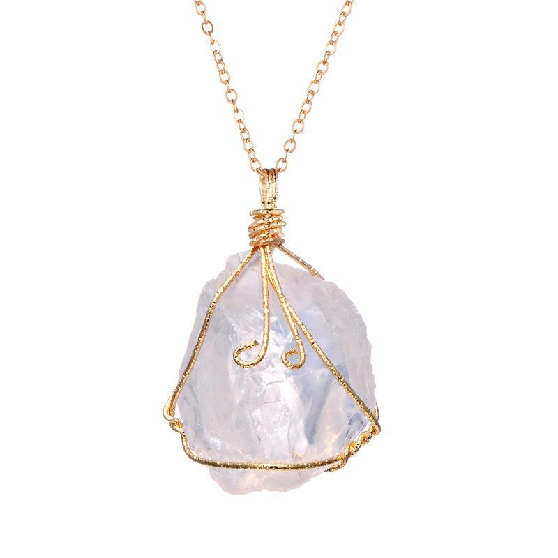 Collana in pietra del quarzo di cristallo naturale Collana della pietra preziosa Donne Collana irregolare Donna Druzy Cluster al quarzo Geode Gem Gioielli Guarigione