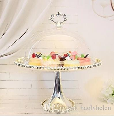 1 Tier Silvery Metal Wedding Cupcake Stand with Acrylic Cover Cake Food Display Holder Party Event Decoration