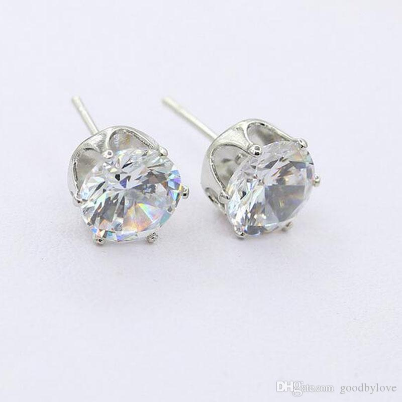 Fashion Jewelry 18K Yellow/White Gold Plated Clear Cubic Zirconia CZ Pierced Stud Earrings for Women Girls