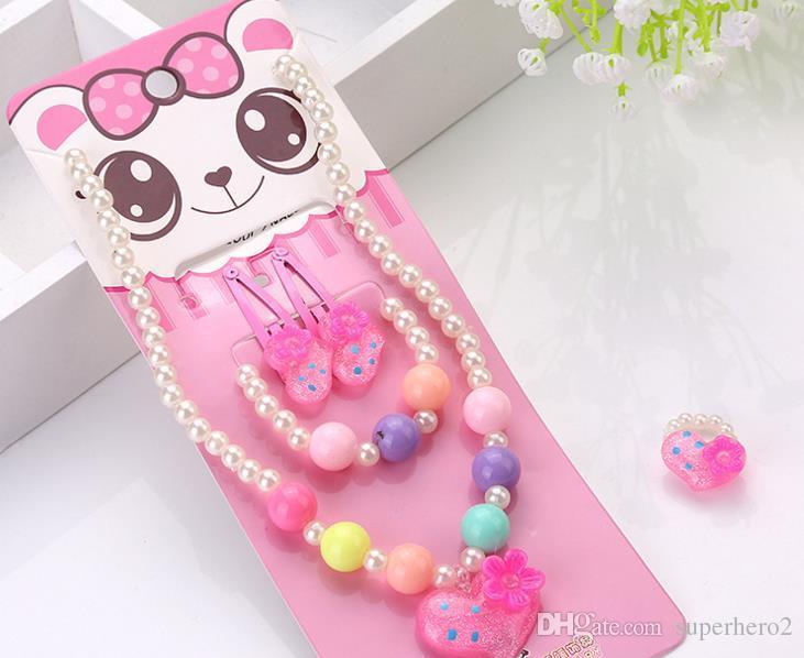 Kinder Kind Mädchen Nette Perle Perlen Halskette Armband Haarspange Ring Set Weihnachten Geburtstag Party Tasche Füllstoff Schmuck Geschenk-Sets bevorzugen Rosa