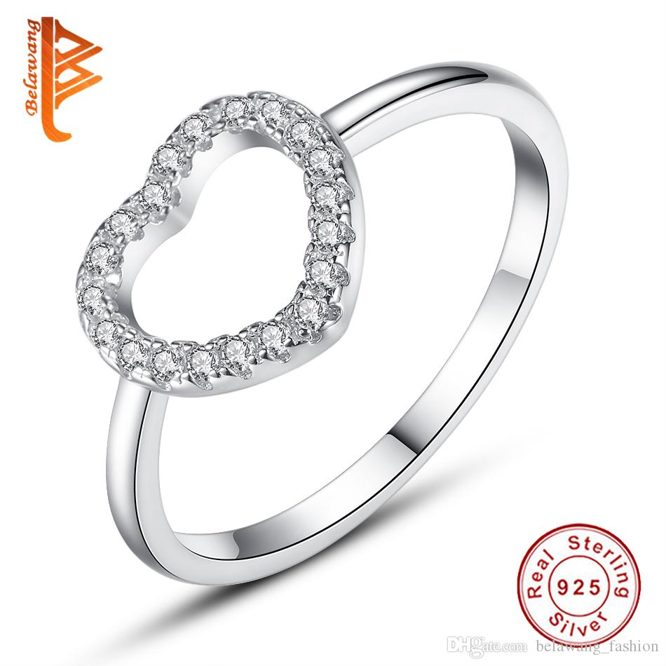 BELAWANG Heart Shape Ring 925 Sterling Silver Natural Handmade Fashion Jewelry Finger Rings Hollow Round Big Rings for Women Ladies Bijoux