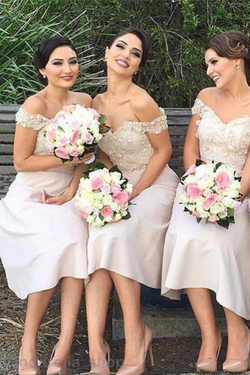 0ef997b5cb427 2017 Cheap Simple Bridesmaid Dresses Tea Length V Neck Off Shoulder  Appliques V Neck Pink Short Wedding Guest Gowns Plus Size Country Bridesmaid  Dress ...
