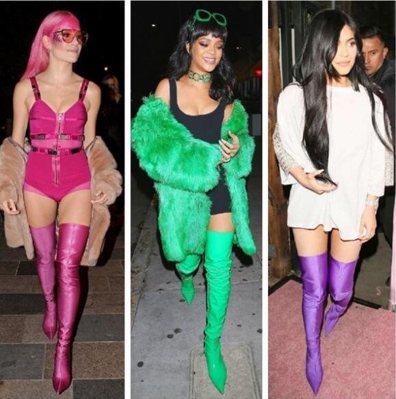 Women Thigh High Boots Satin Silk Over
