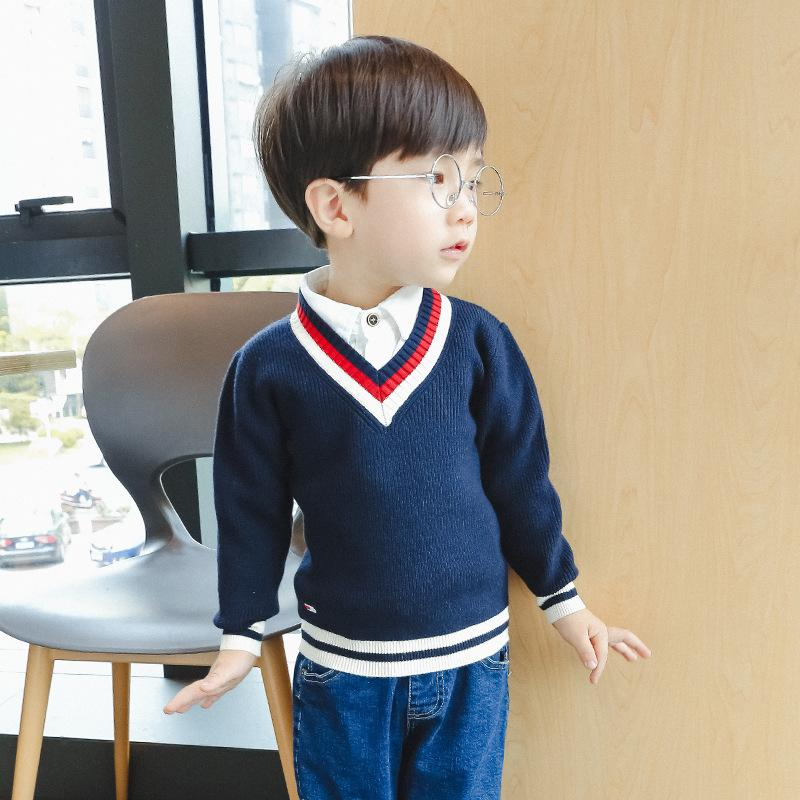 Boy Sweater V Collar Children\'S Knitted Sweater Solid Color Hit ...