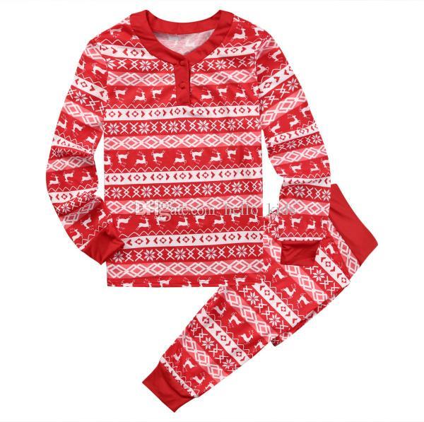 2017 Halloween Christmas Family Matching Outfits 2017 New Baby Homens Mulheres Crianças Pijamas Set Manga Longa Impresso Xmas Sleepwear Nightwear