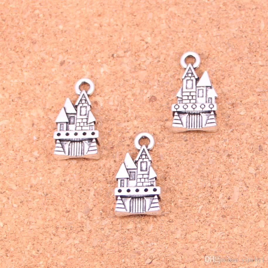 87pcs Antique silver Charms castle house Pendant Fit Bracelets Necklace DIY Metal Jewelry Making 21*11mm