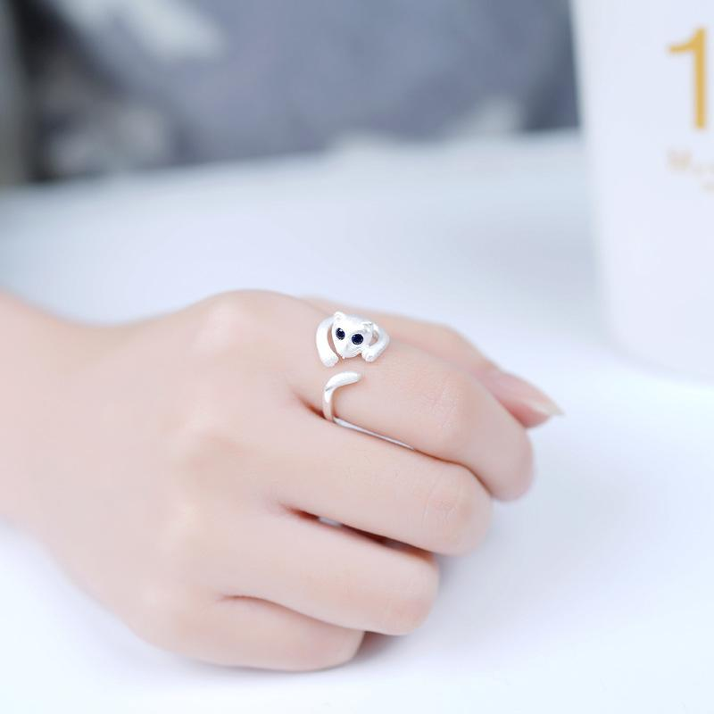 100% 925 Fits European Jewelry blue eye leopard Silver Rings Brand Fashion Finger Rings High Quality Open women ring Antiallergic