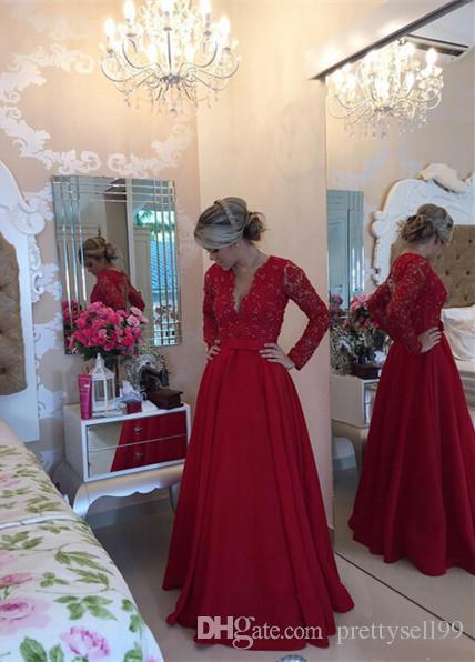 New Custom Made Sexy V Neck Long Sleeves A Line Lace Evening Dresses 2017 Sheer Back Prom Party Gowns