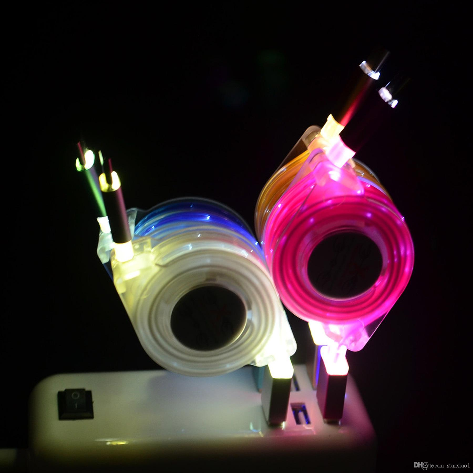 LED leuchten flache Nudel Micro USB Kabel Typ C für Samsung I5 Smartphone Tablet PC Bunte einziehbare Kabel Flexible Ladekabel
