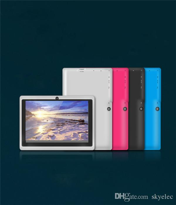 Tablet PC A33 Q88 Quad core 7 pulgadas Allwinner Tablet PC Android 4.4 Cámara doble 4GB 512MB Pantalla capacitiva WIFI MID DHL GRATUITA tableta android
