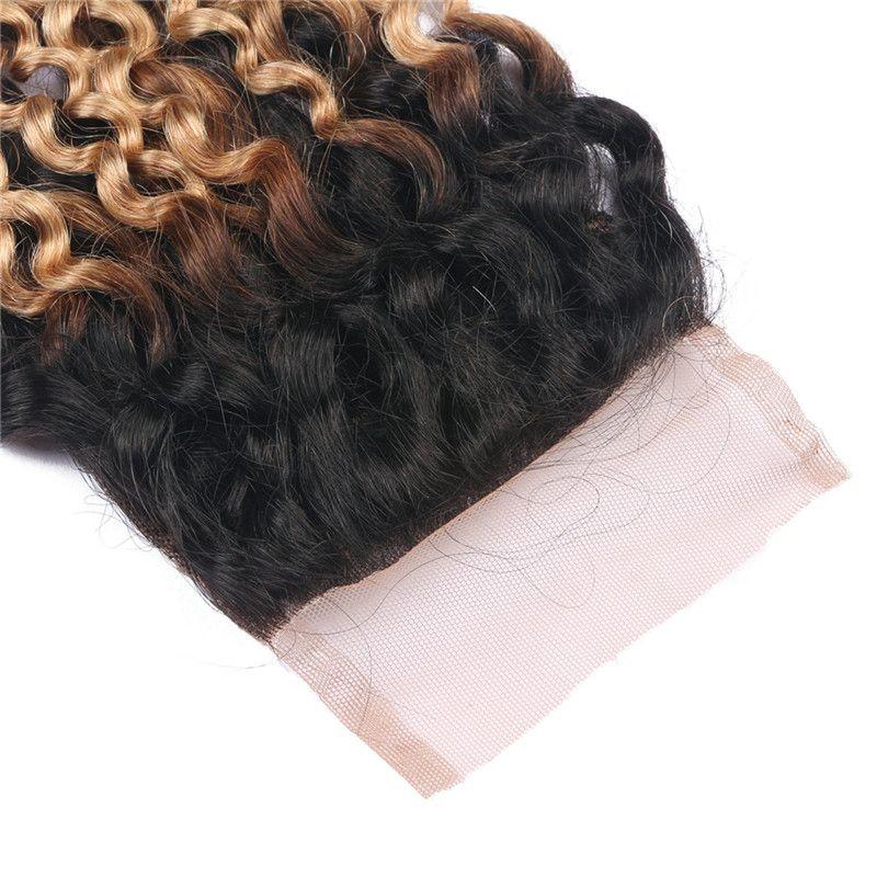 Malaio 9A Ombre Cor Kinky Curly Cabelo Bundles Com Fechamento Rendas Dois Tons 1B 27 Tece Cabelo Com Top Encerramento 4 Pçs / lote