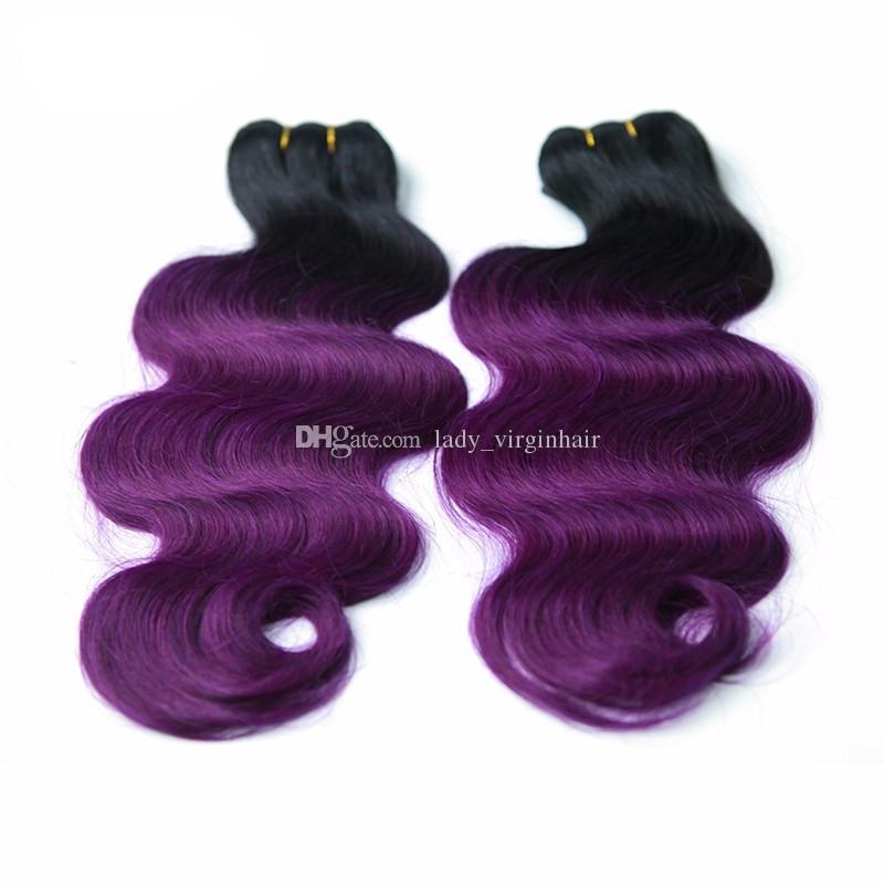 cheap sale 1b purple dark root ombre brazilian body wave wavy two tone human hair weave weft extensions DHL