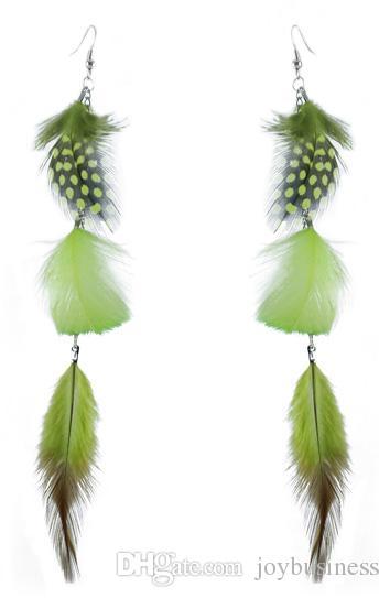 Feather Earrings wholesale Cute Silver Tone Chain Light Dangle Eardrop New  Burgundy Green Purple Orange Black White JF314