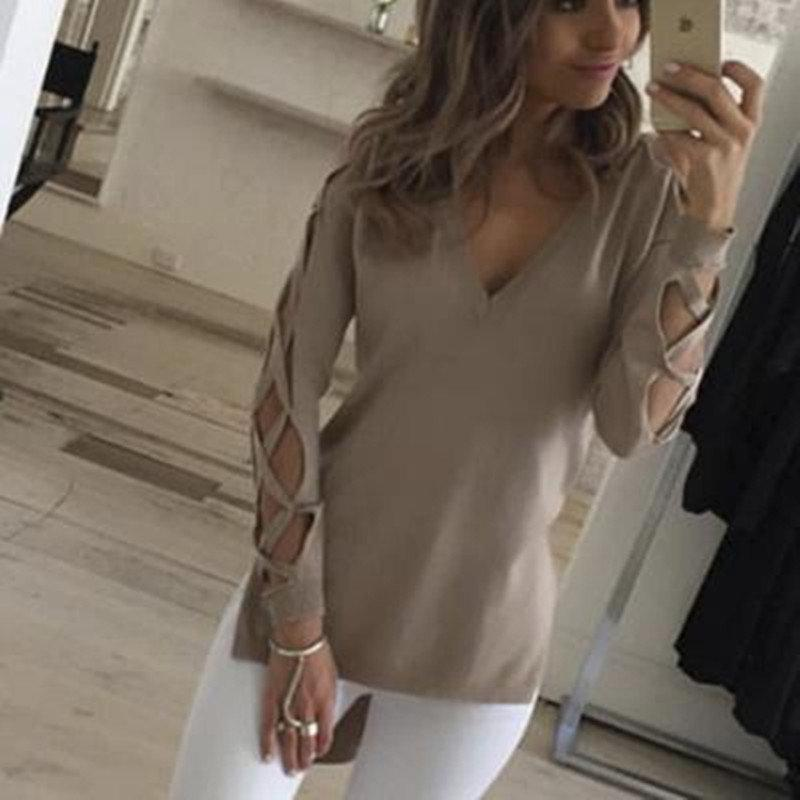 Wink Gal Hollow Out Split Sweater Women Sexy V neck Cross Long Sleeve Knitted Pullover Lace Up Black Tops Winter Autumn W10419
