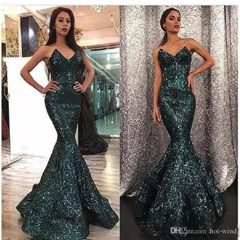 Hunter Green Sweetheart Sleeveless Mermaid Prom Dresses 2018 Sparkly