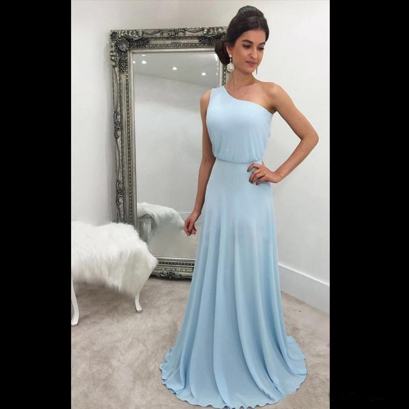 656a203523 One Shoulder Flowy Chiffon Bridesmaid Dresses Bohemain Bridesmaid Dresses  Champagne Silver Blue Prom Dresses Wedding Guest Dress