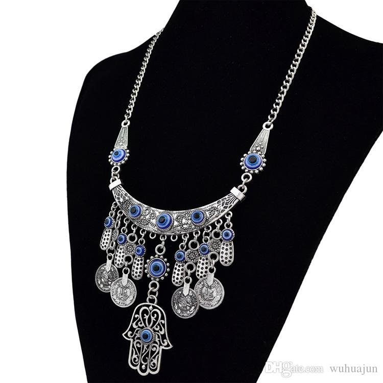 European Vintage Exaggerated The Hands Of Fatima Pendant Necklace, Women Turkey Blue Eye Short Necklace, Female Antic Silver Coins Necklaces