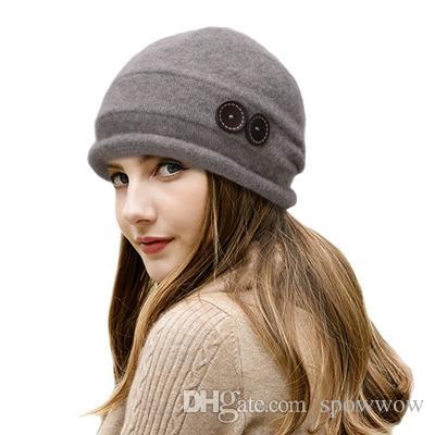 Élégant Élégant Femmes Chapeau D'hiver Dames Bouton Décor 100% Laine De Mode Casual Bonnets Skullies Caps T178
